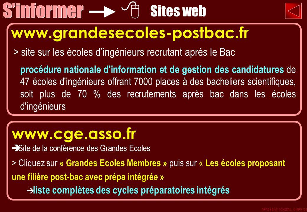 > site sur les écoles dingénieurs recrutant après le Bac www.grandesecoles-postbac.fr procédure nationale d'information et de gestion des candidatures