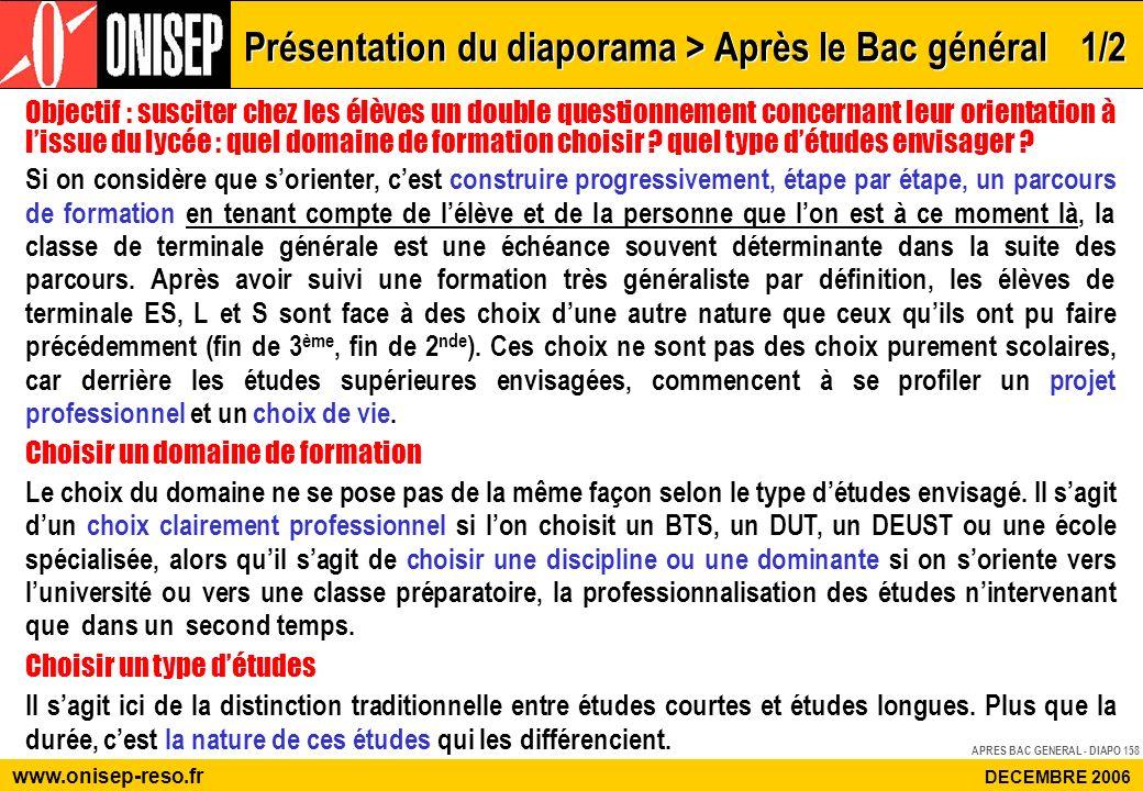 APRES BAC GENERAL - DIAPO 158 www.onisep-reso.fr DECEMBRE 2006 Objectif : susciter chez les élèves un double questionnement concernant leur orientatio