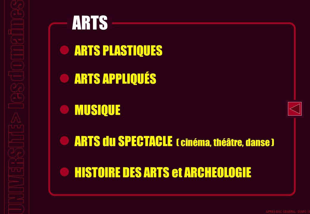 ARTS PLASTIQUES ARTS APPLIQUÉS MUSIQUE ARTS du SPECTACLE ( cinéma, théâtre, danse ) HISTOIRE DES ARTS et ARCHEOLOGIE ARTS APRES BAC GENERAL - DIAPO 18