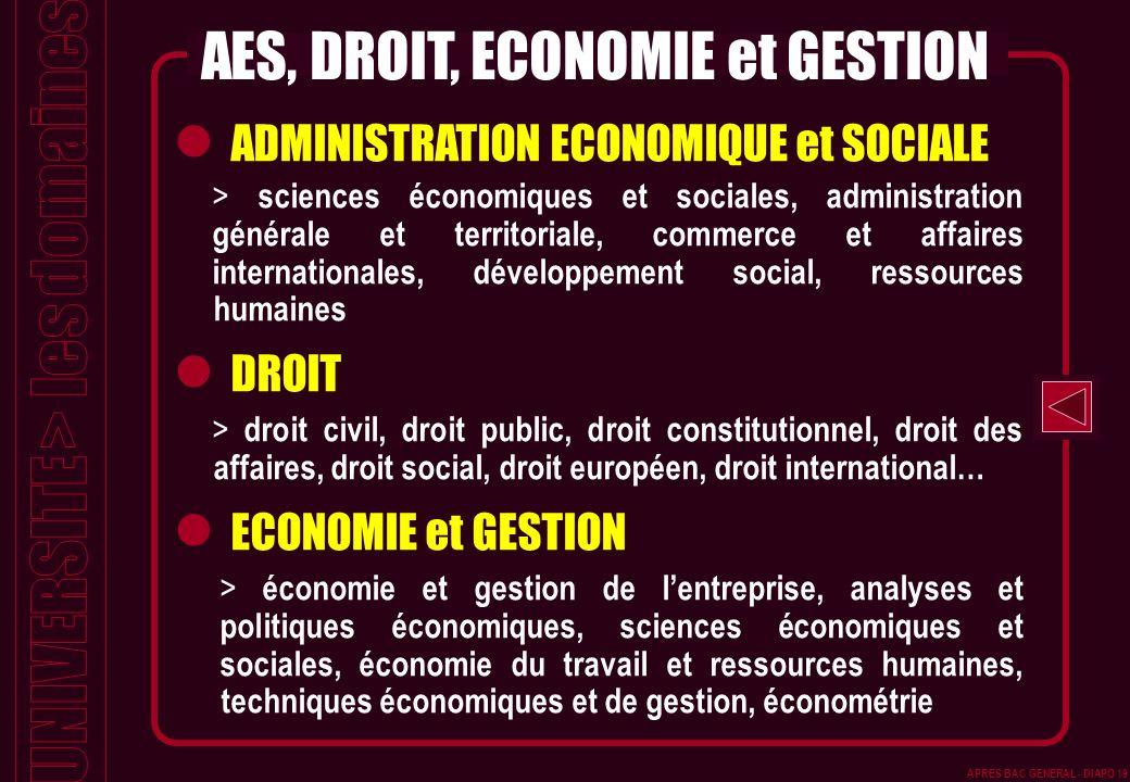 APRES BAC GENERAL - DIAPO 19 ADMINISTRATION ECONOMIQUE et SOCIALE > sciences économiques et sociales, administration générale et territoriale, commerc