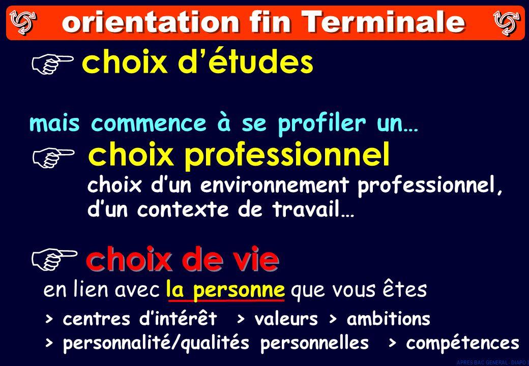 orientation fin Terminale choix détudes choix professionnel choix dun environnement professionnel, dun contexte de travail… mais commence à se profile