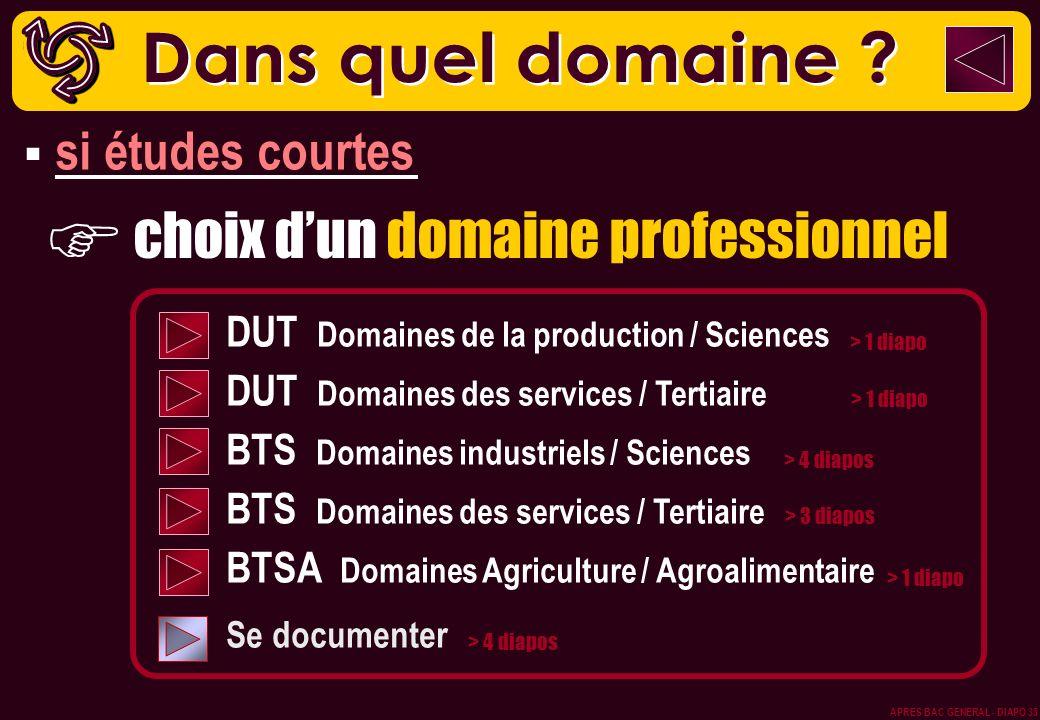choix dun domaine professionnel DUT Domaines de la production / Sciences DUT Domaines des services / Tertiaire BTS Domaines industriels / Sciences BTS