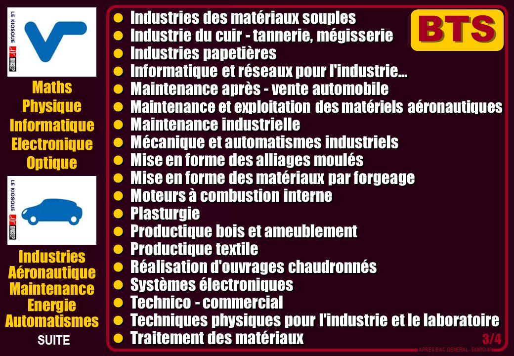 Maths Physique Informatique Electronique Optique Industries des matériaux souples Industrie du cuir - tannerie, mégisserie Industries papetières Infor