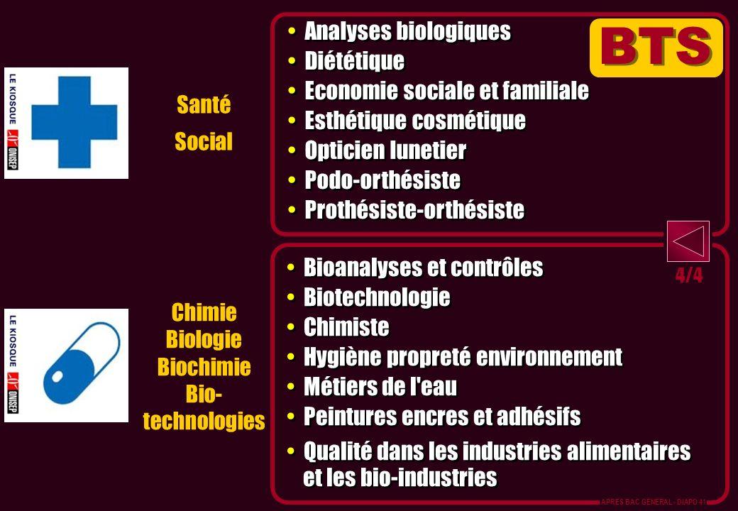Chimie Biologie Biochimie Bio- technologies Santé Social Analyses biologiques Diététique Economie sociale et familiale Esthétique cosmétique Opticien