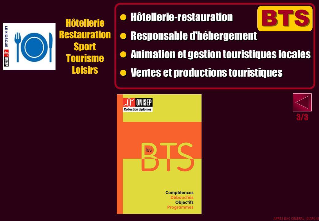 Hôtellerie Restauration Sport Tourisme Loisirs Hôtellerie-restauration Responsable d'hébergement Animation et gestion touristiques locales Ventes et p