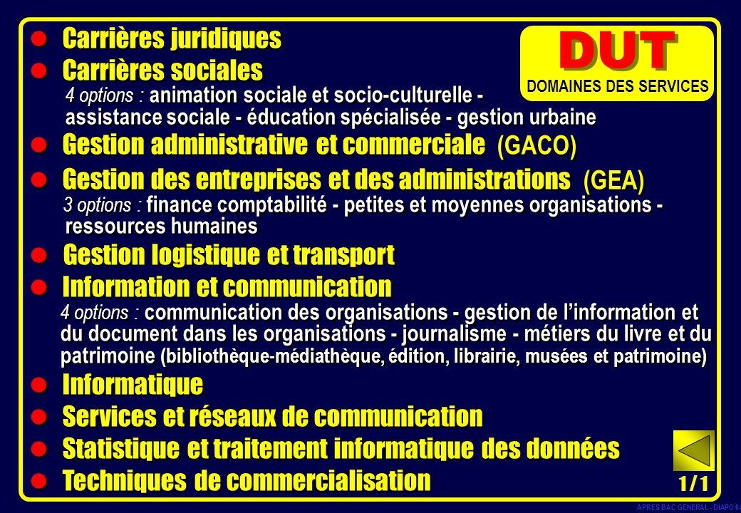 Carrières juridiques Carrières sociales 4 options : animation sociale et socio-culturelle - assistance sociale - éducation spécialisée - gestion urbai
