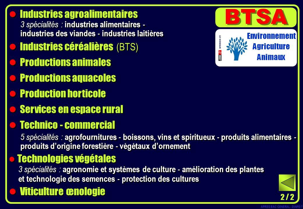 Industries agroalimentaires 3 spécialités : industries alimentaires - industries des viandes - industries laitières Industries céréalières (BTS) Produ