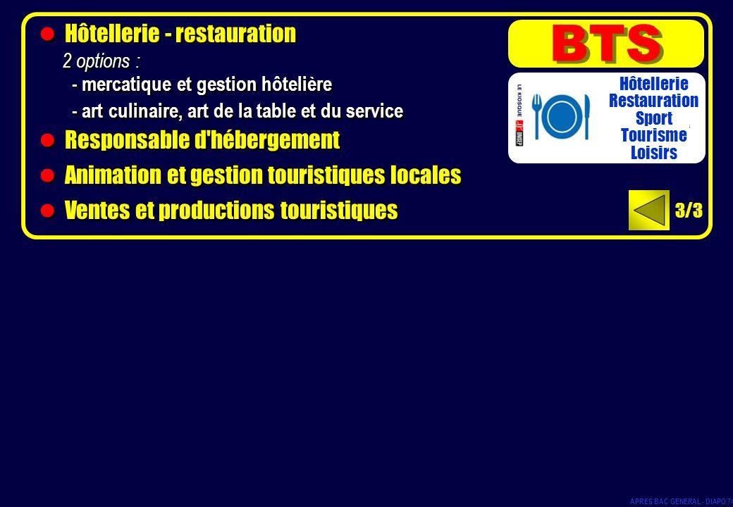Hôtellerie - restauration 2 options : - mercatique et gestion hôtelière - art culinaire, art de la table et du service Responsable d'hébergement Anima