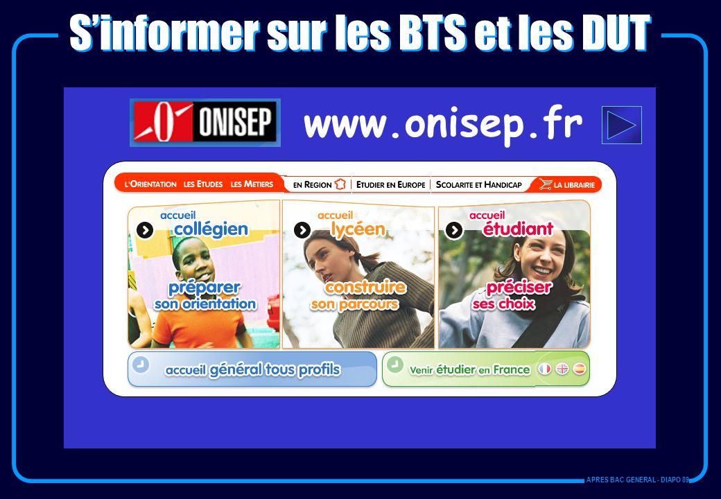 www.onisep.fr Sinformer sur les BTS et les DUT APRES BAC GENERAL - DIAPO 89