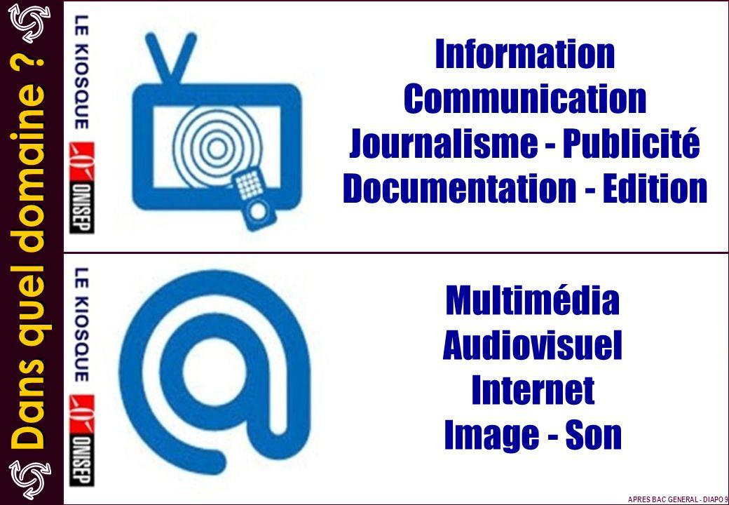 Information Communication Journalisme - Publicité Documentation - Edition Multimédia Audiovisuel Internet Image - Son APRES BAC GENERAL - DIAPO 9