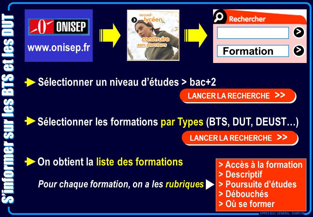 > > Formation Sélectionner un niveau détudes > bac+2 LANCER LA RECHERCHE >> > Accès à la formation > Descriptif > Poursuite détudes > Débouchés > Où s