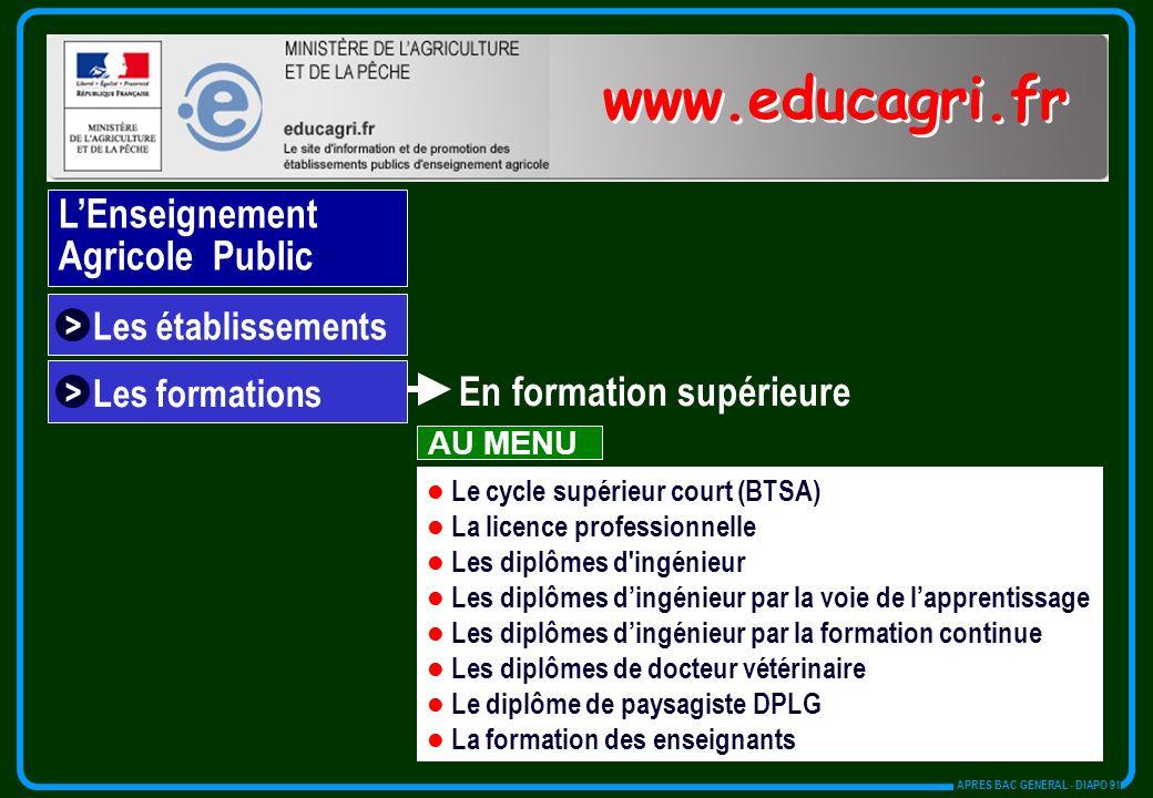 Les établissements > Le cycle supérieur court (BTSA) La licence professionnelle Les diplômes d'ingénieur Les diplômes dingénieur par la voie de lappre