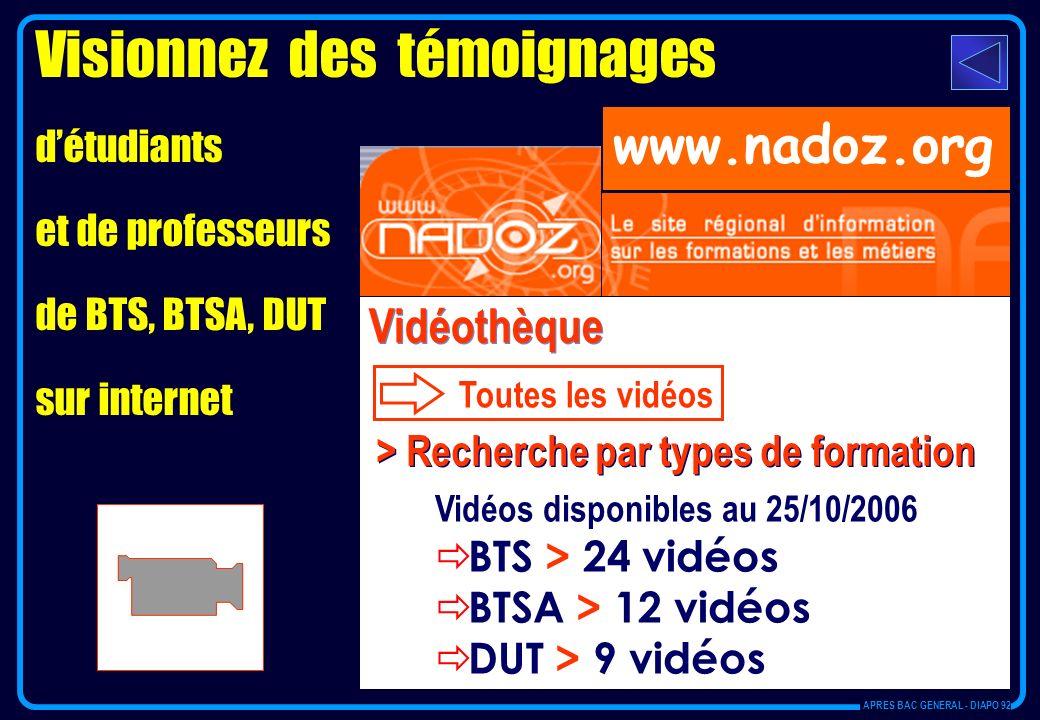 Visionnez des témoignages détudiants et de professeurs de BTS, BTSA, DUT sur internet Vidéothèque Toutes les vidéos > Recherche par types de formation