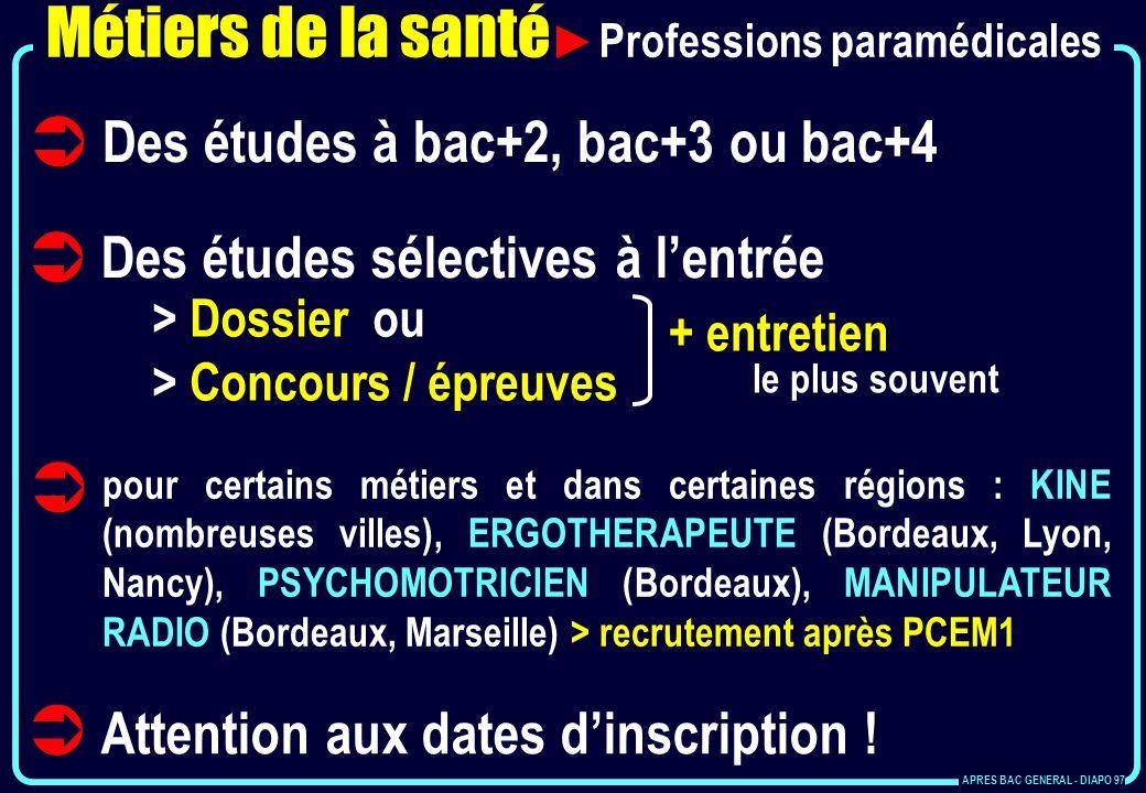Métiers de la santé Professions paramédicales Des études à bac+2, bac+3 ou bac+4 Des études sélectives à lentrée > Dossier ou > Concours / épreuves +