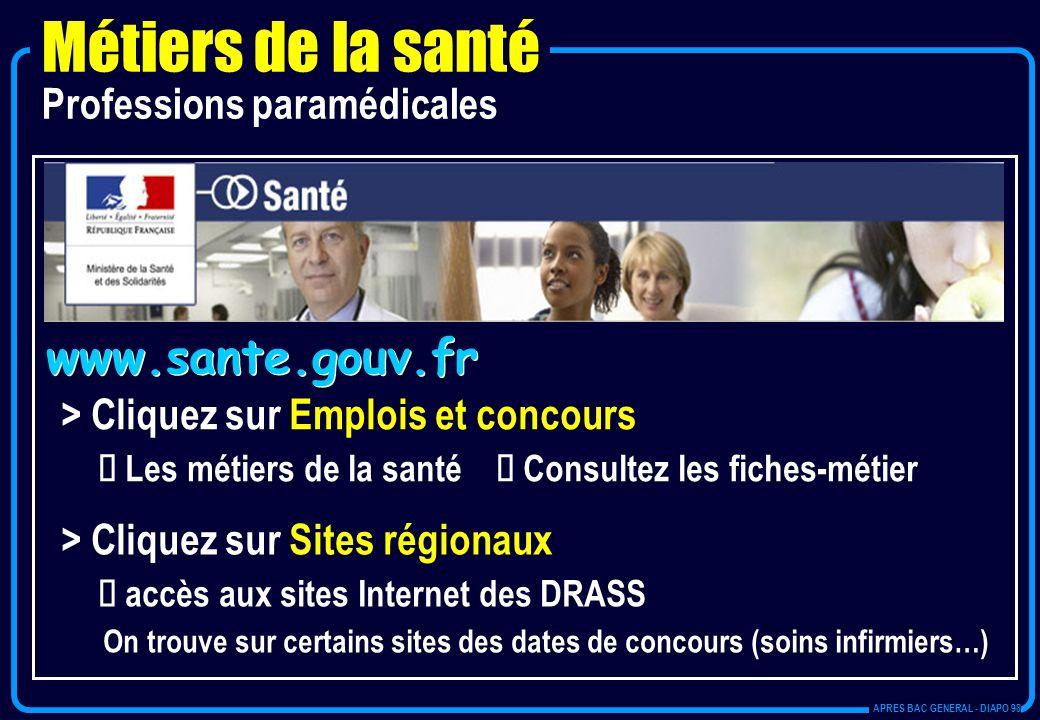 www.sante.gouv.fr > Cliquez sur Emplois et concours Les métiers de la santé Consultez les fiches-métier > Cliquez sur Sites régionaux accès aux sites