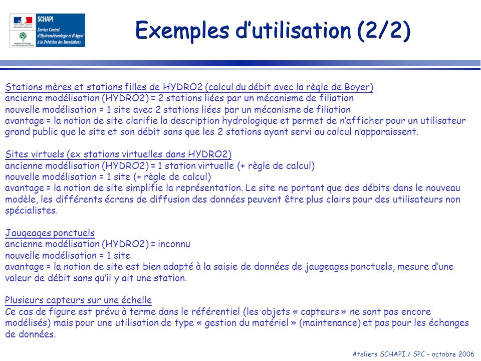 Ateliers SCHAPI / SPC – octobre 2006 Exemples dutilisation (2/2) Stations mères et stations filles de HYDRO2 (calcul du débit avec la règle de Boyer)