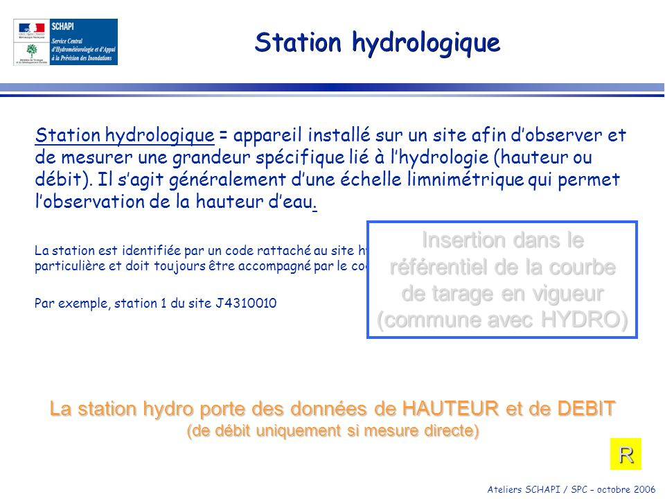 Ateliers SCHAPI / SPC – octobre 2006 Station hydrologique Station hydrologique = appareil installé sur un site afin dobserver et de mesurer une grande