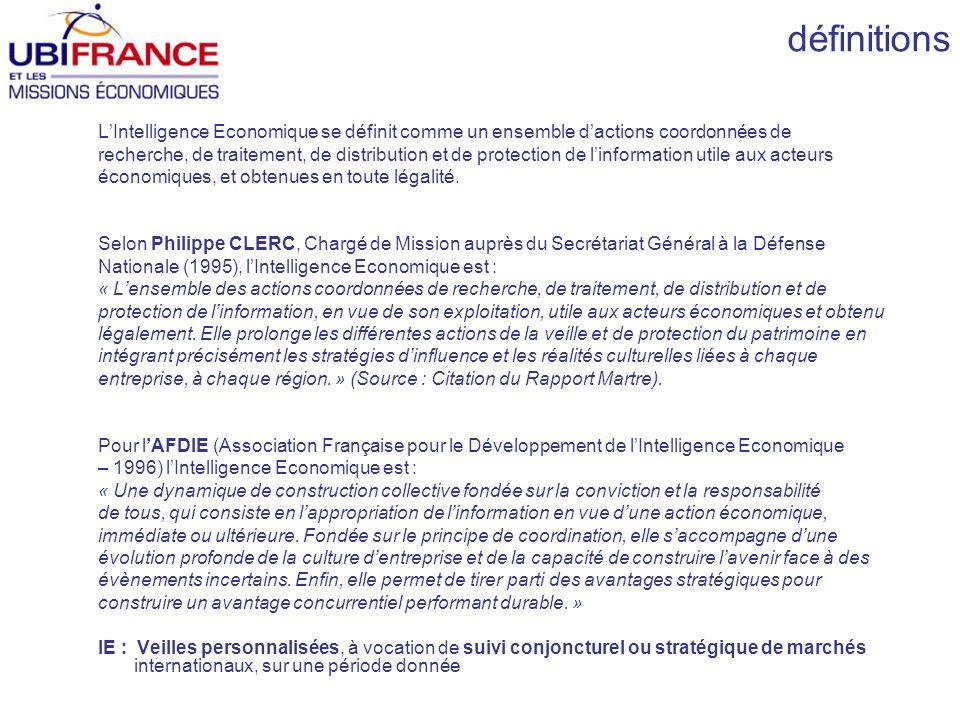 définitions LIntelligence Economique se définit comme un ensemble dactions coordonnées de recherche, de traitement, de distribution et de protection de linformation utile aux acteurs économiques, et obtenues en toute légalité.