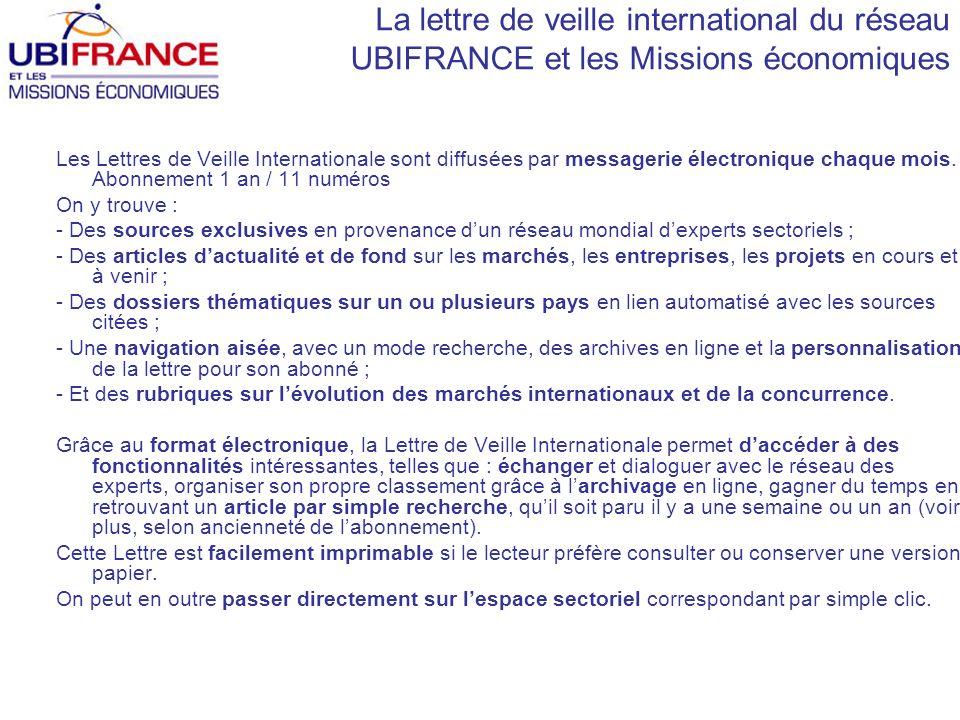La lettre de veille international du réseau UBIFRANCE et les Missions économiques Les Lettres de Veille Internationale sont diffusées par messagerie électronique chaque mois.