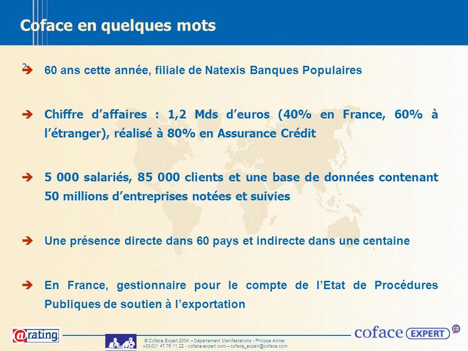 2 © Coface Expert 2004 – Département Manifestations - Philippe Alcher +33(0)1 47 76 11 22 - coface-expert.com – coface_expert@coface.com Coface en que