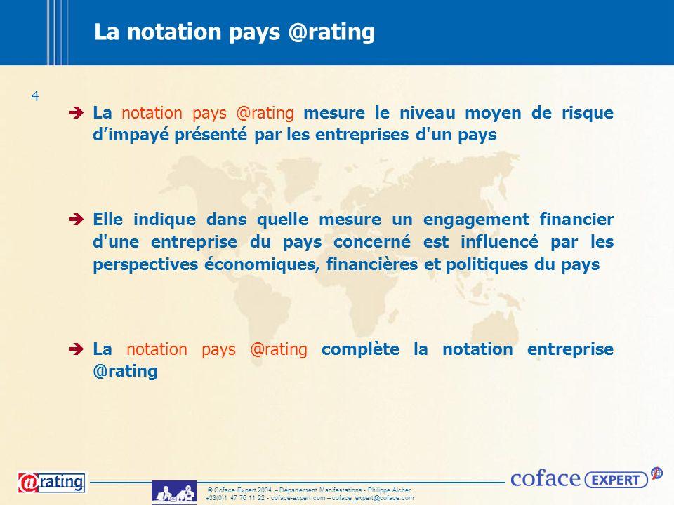 4 © Coface Expert 2004 – Département Manifestations - Philippe Alcher +33(0)1 47 76 11 22 - coface-expert.com – coface_expert@coface.com La notation p