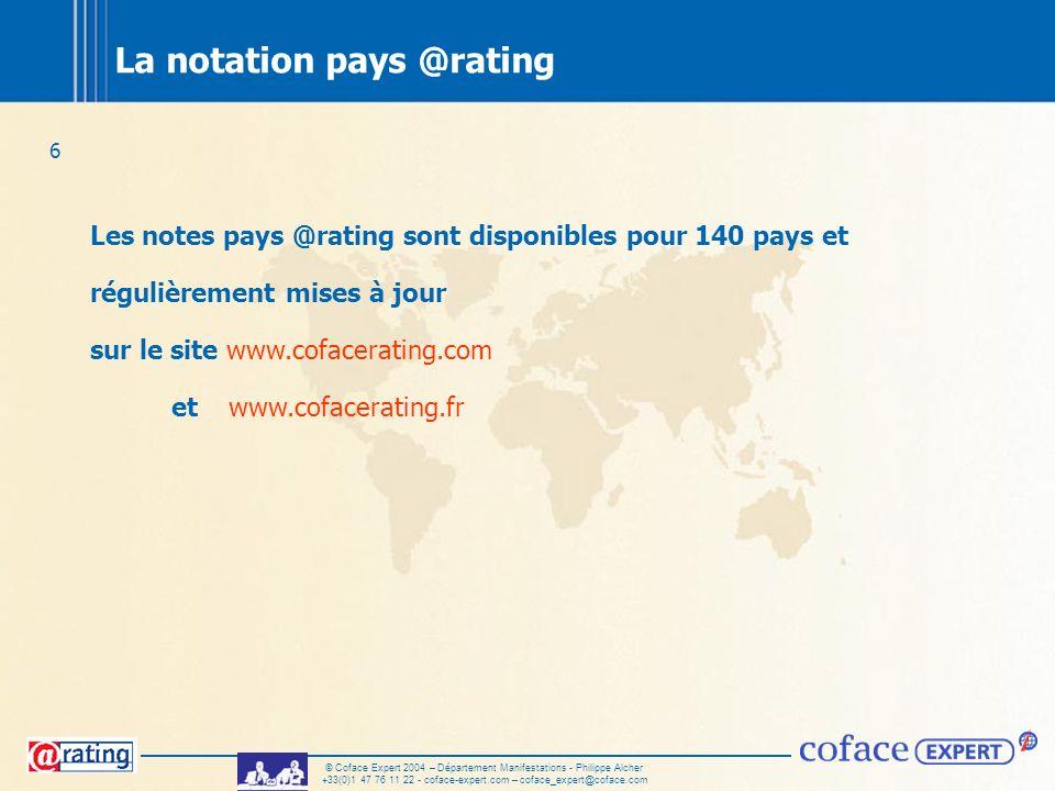 6 © Coface Expert 2004 – Département Manifestations - Philippe Alcher +33(0)1 47 76 11 22 - coface-expert.com – coface_expert@coface.com La notation p