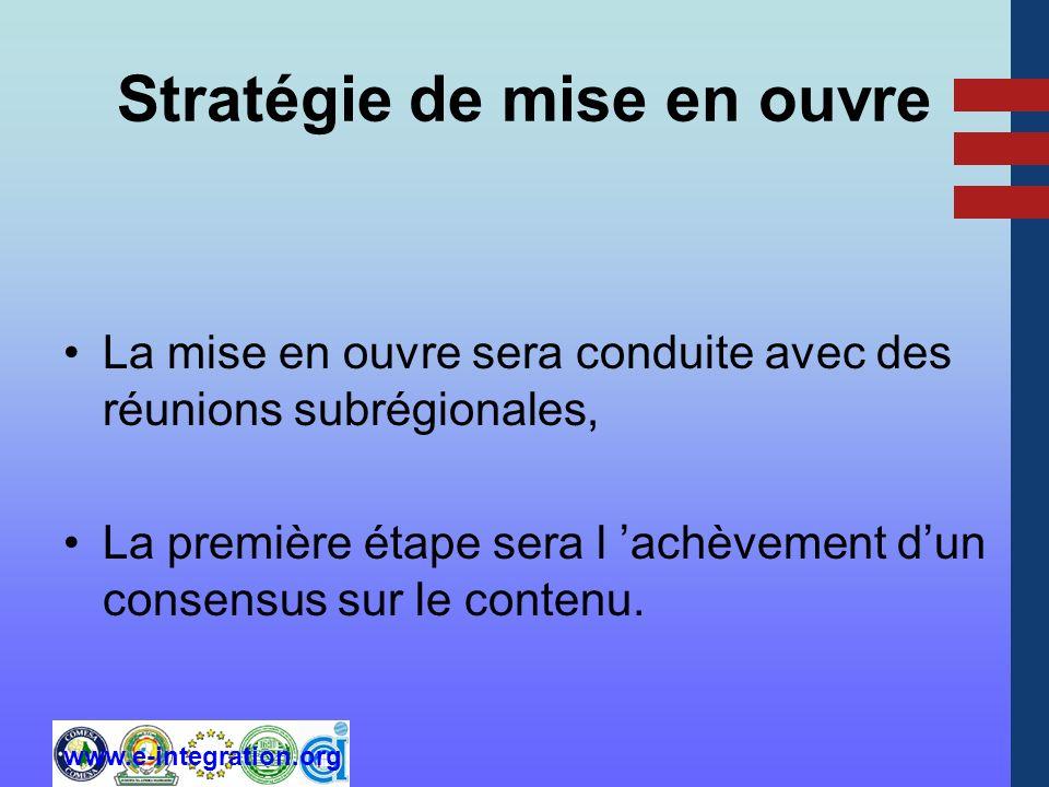 www.e-integration.org Stratégie de mise en ouvre La mise en ouvre sera conduite avec des réunions subrégionales, La première étape sera l achèvement dun consensus sur le contenu.