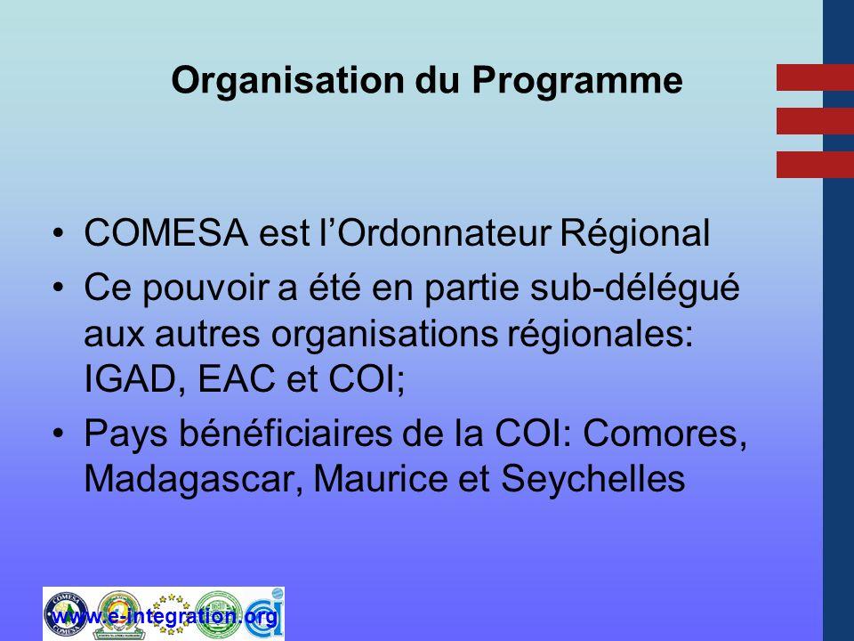 www.e-integration.org Organisation du Programme COMESA est lOrdonnateur Régional Ce pouvoir a été en partie sub-délégué aux autres organisations régionales: IGAD, EAC et COI; Pays bénéficiaires de la COI: Comores, Madagascar, Maurice et Seychelles