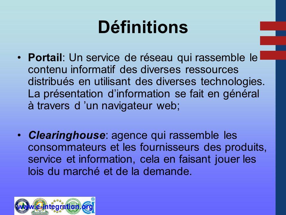 www.e-integration.org Définitions Portail: Un service de réseau qui rassemble le contenu informatif des diverses ressources distribués en utilisant des diverses technologies.