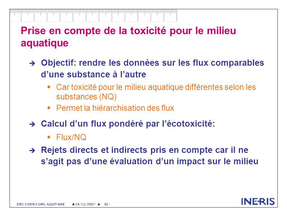 19/12/2007 52 / DRC-CHEN-COPIL AQUITAINE Prise en compte de la toxicité pour le milieu aquatique Objectif: rendre les données sur les flux comparables dune substance à lautre Car toxicité pour le milieu aquatique différentes selon les substances (NQ) Permet la hiérarchisation des flux Calcul dun flux pondéré par lécotoxicité: Flux/NQ Rejets directs et indirects pris en compte car il ne sagit pas dune évaluation dun impact sur le milieu