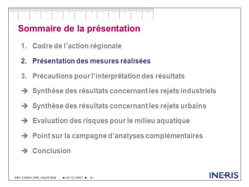 19/12/2007 50 / DRC-CHEN-COPIL AQUITAINE Flux rejetés (2) Répartition des flux par famille chimique