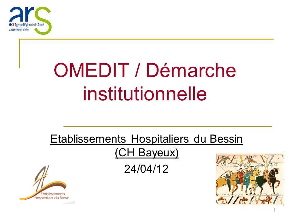 1 OMEDIT / Démarche institutionnelle Etablissements Hospitaliers du Bessin (CH Bayeux) 24/04/12