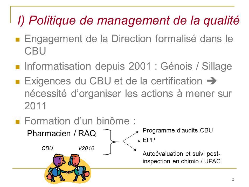 2 Engagement de la Direction formalisé dans le CBU Informatisation depuis 2001 : Génois / Sillage Exigences du CBU et de la certification nécessité do