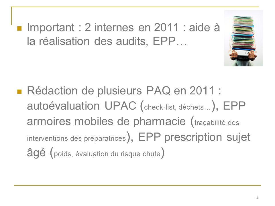 3 Important : 2 internes en 2011 : aide à la réalisation des audits, EPP… Rédaction de plusieurs PAQ en 2011 : autoévaluation UPAC ( check-list, déche