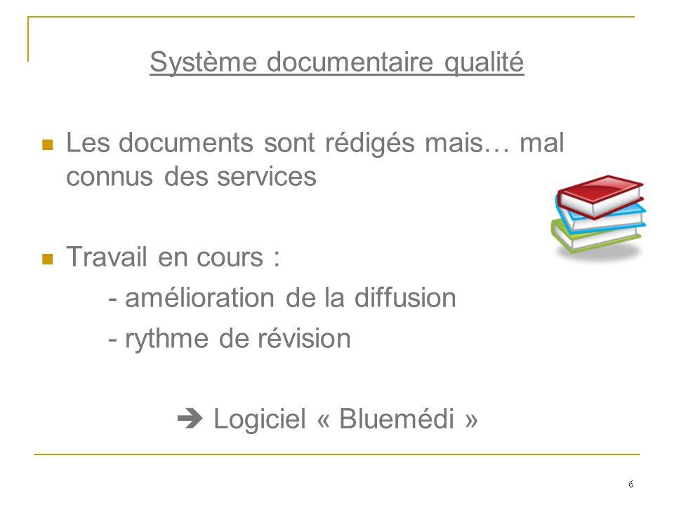 6 Système documentaire qualité Les documents sont rédigés mais… mal connus des services Travail en cours : - amélioration de la diffusion - rythme de