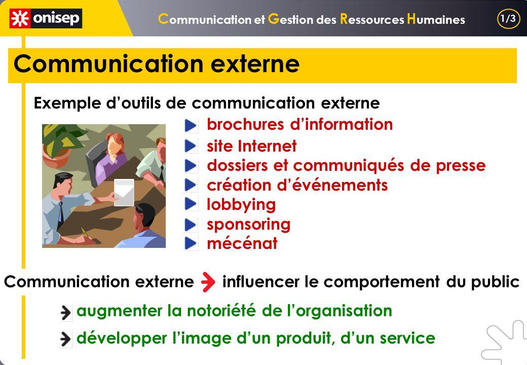 C ommunication et G estion des R essources H umaines Communication externe Exemple doutils de communication externe brochures dinformation site Intern