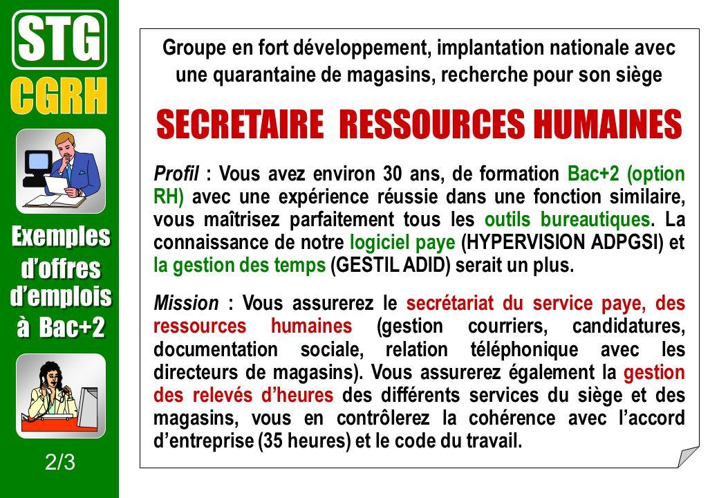 Groupe en fort développement, implantation nationale avec une quarantaine de magasins, recherche pour son siège SECRETAIRE RESSOURCES HUMAINES Profil