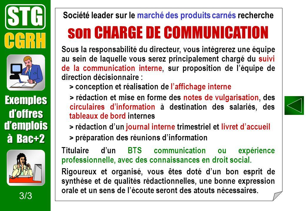Société leader sur le marché des produits carnés recherche son CHARGE DE COMMUNICATION Sous la responsabilité du directeur, vous intégrerez une équipe