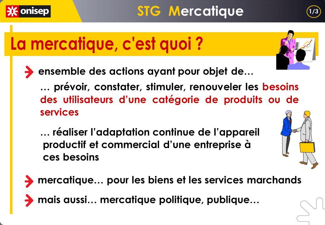 STG Mercatique ensemble des actions ayant pour objet de… … prévoir, constater, stimuler, renouveler les besoins des utilisateurs dune catégorie de pro