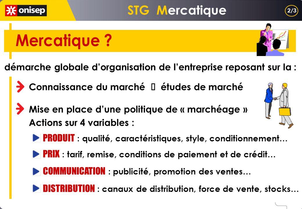 STG Mercatique démarche globale dorganisation de lentreprise reposant sur la : Connaissance du marché études de marché Mise en place dune politique de