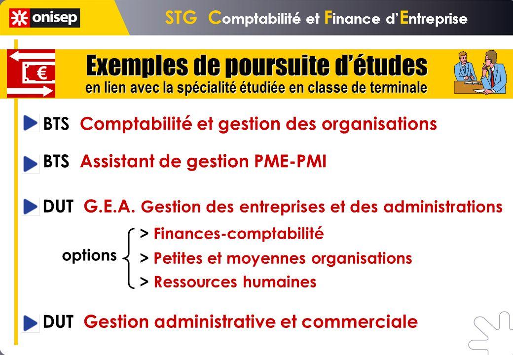 STG C omptabilité et F inance d E ntreprise BTS Comptabilité et gestion des organisations BTS Assistant de gestion PME-PMI DUT G.E.A. Gestion des entr