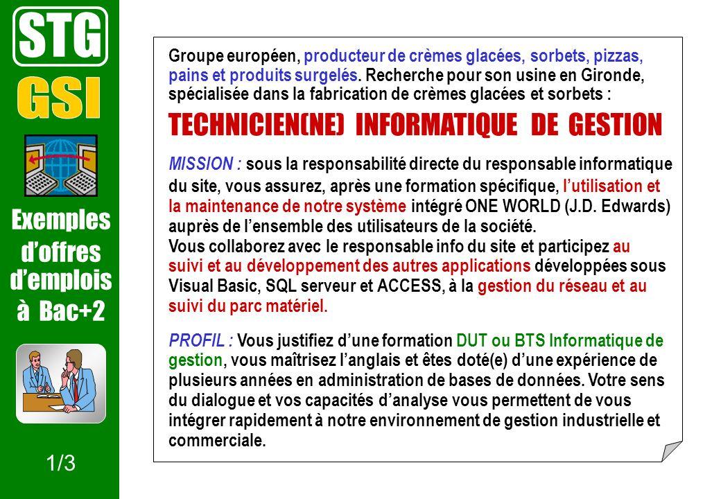 STG Exemples doffres demplois à Bac+2 Groupe européen, producteur de crèmes glacées, sorbets, pizzas, pains et produits surgelés. Recherche pour son u