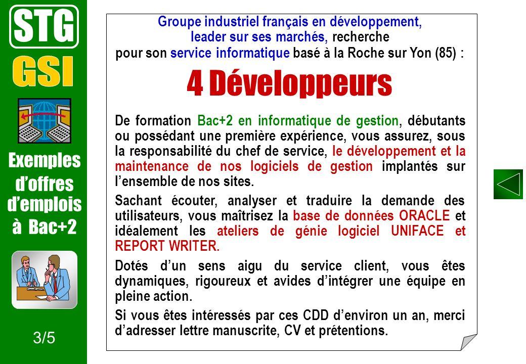 Groupe industriel français en développement, leader sur ses marchés, recherche pour son service informatique basé à la Roche sur Yon (85) : 4 Développ