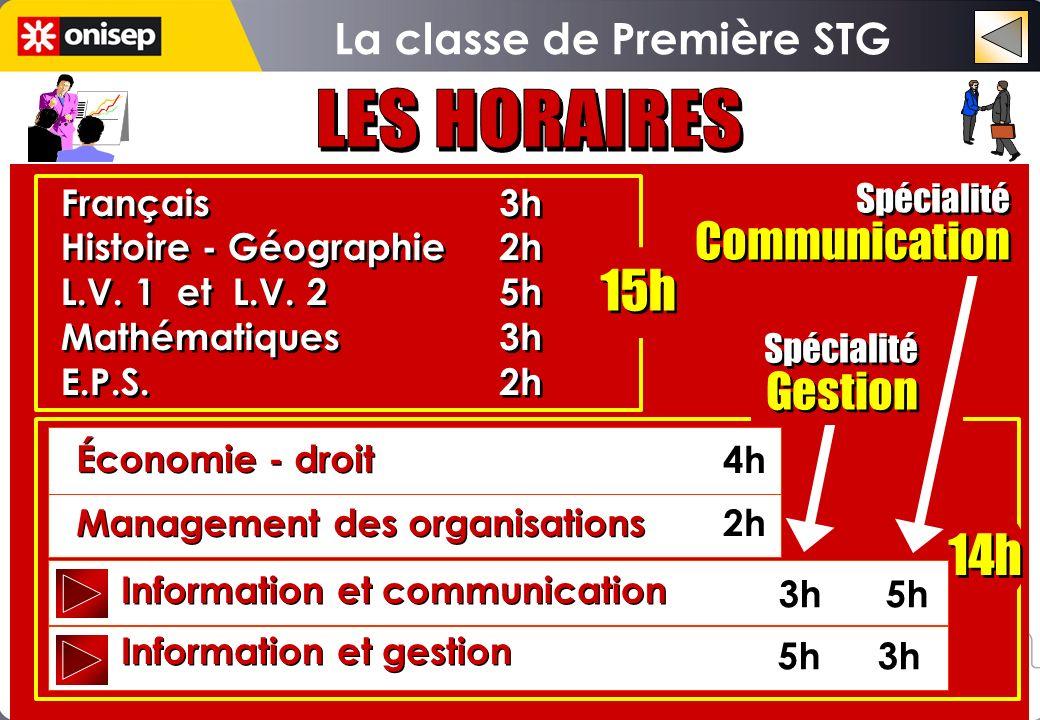 3h 5h 5h 3h Spécialité Gestion Spécialité Gestion Spécialité Communication Spécialité Communication 14h Information et communication Information et ge