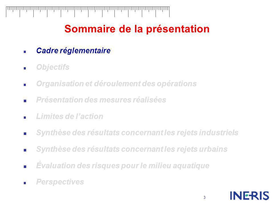 3 Sommaire de la présentation Cadre réglementaire Objectifs Organisation et déroulement des opérations Présentation des mesures réalisées Limites de l