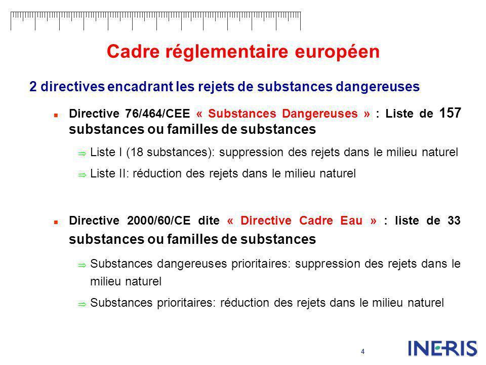 4 Cadre réglementaire européen 2 directives encadrant les rejets de substances dangereuses Directive 76/464/CEE « Substances Dangereuses » : Liste de