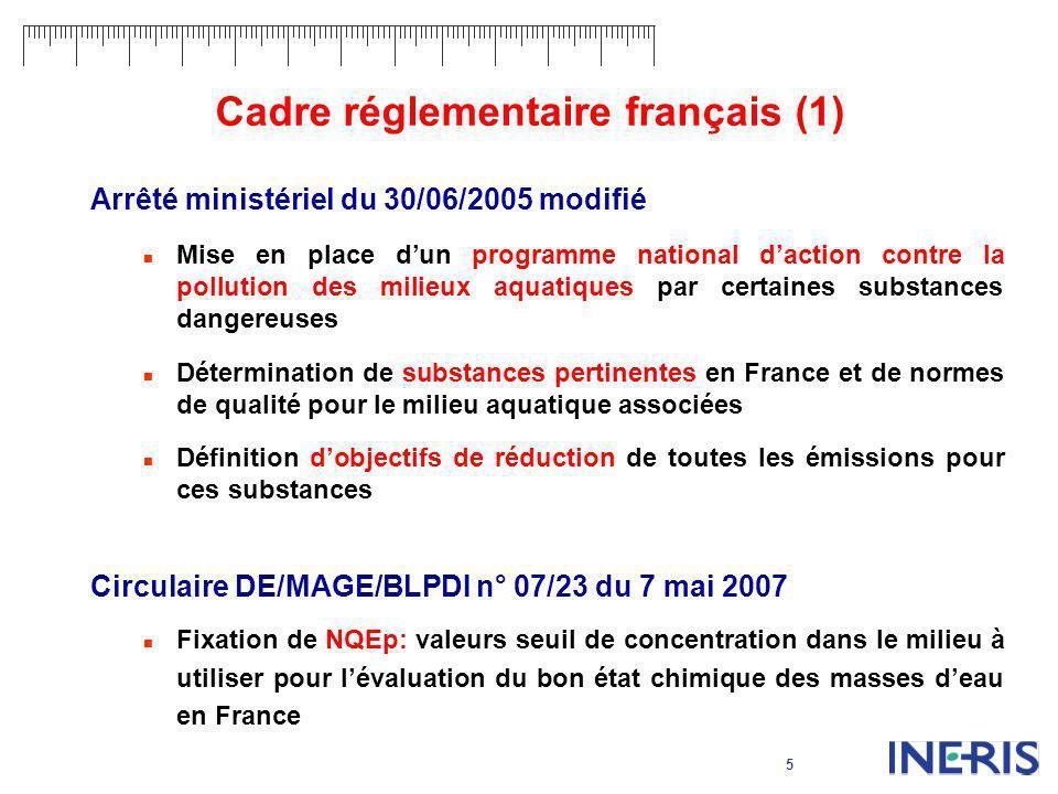 5 Cadre réglementaire français (1) Arrêté ministériel du 30/06/2005 modifié Mise en place dun programme national daction contre la pollution des milie