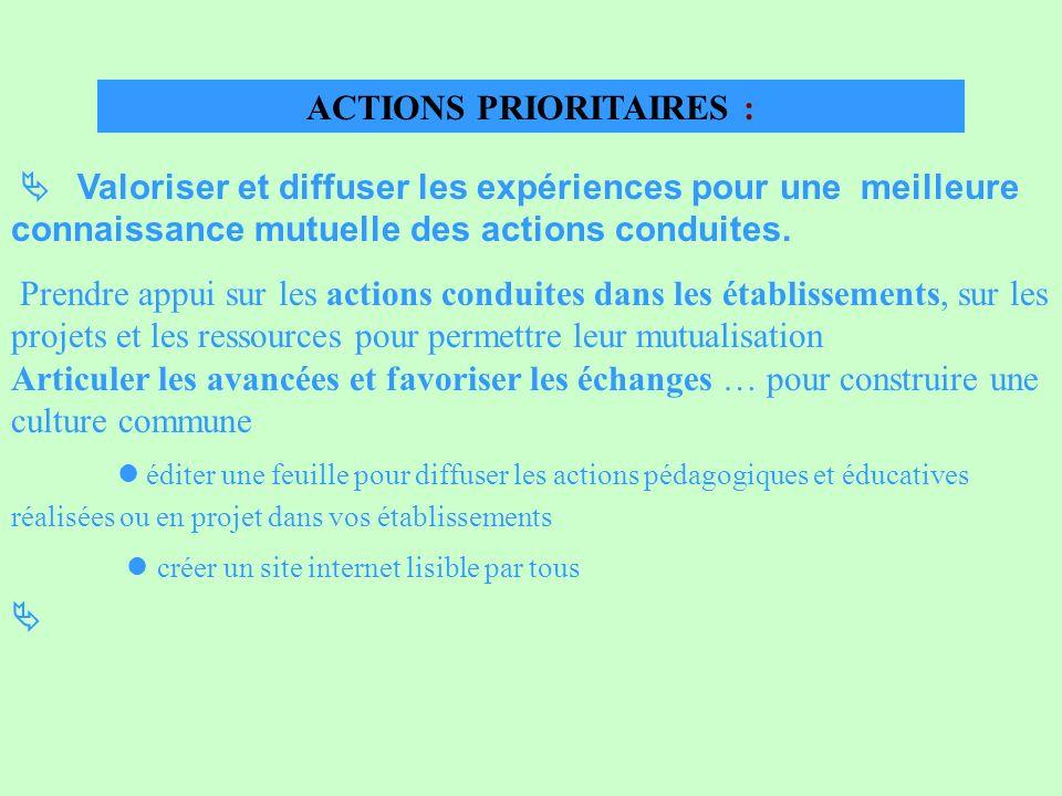 ACTIONS PRIORITAIRES : Valoriser et diffuser les expériences pour une meilleure connaissance mutuelle des actions conduites. Prendre appui sur les act
