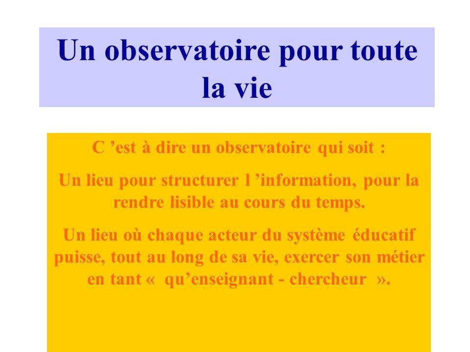 Un observatoire pour toute la vie C est à dire un observatoire qui soit : Un lieu pour structurer l information, pour la rendre lisible au cours du te