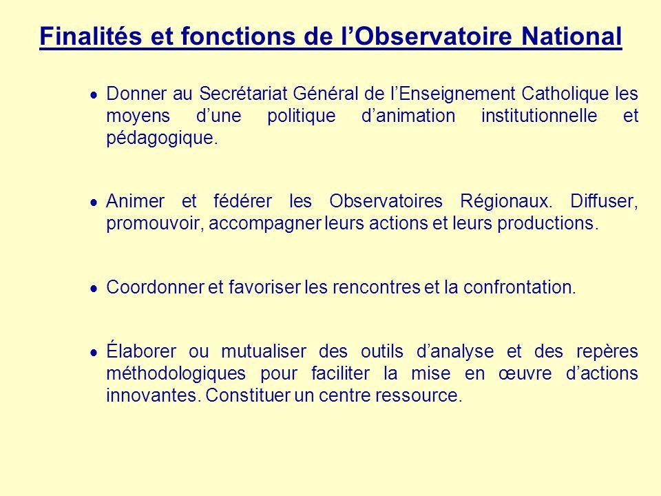 Finalités et fonctions de lObservatoire National Donner au Secrétariat Général de lEnseignement Catholique les moyens dune politique danimation instit